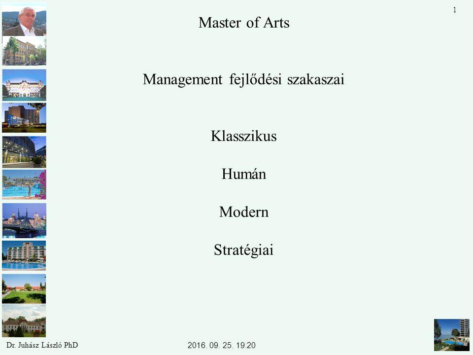 Master of Arts Management fejlődési szakaszai Klasszikus Humán Modern Stratégiai 2016. 09. 25. 19:22 Dr. Juhász László PhD 1