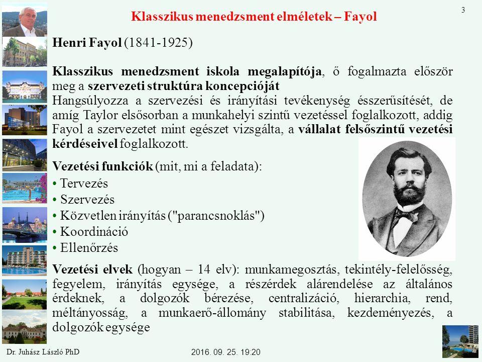 Klasszikus menedzsment elméletek – Fayol Henri Fayol (1841-1925) Klasszikus menedzsment iskola megalapítója, ő fogalmazta először meg a szervezeti struktúra koncepcióját Hangsúlyozza a szervezési és irányítási tevékenység ésszerűsítését, de amíg Taylor elsősorban a munkahelyi szintű vezetéssel foglalkozott, addig Fayol a szervezetet mint egészet vizsgálta, a vállalat felsőszintű vezetési kérdéseivel foglalkozott.