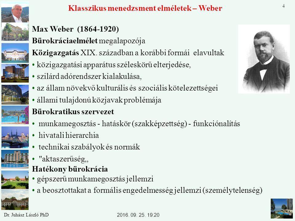 Max Weber (1864-1920) Bürokráciaelmélet megalapozója Közigazgatás XIX. században a korábbi formái elavultak közigazgatási apparátus széleskörű elterje