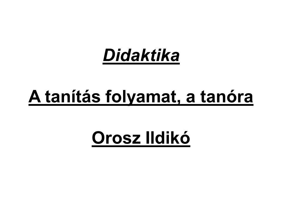Didaktika A tanítás folyamat, a tanóra Orosz Ildikó