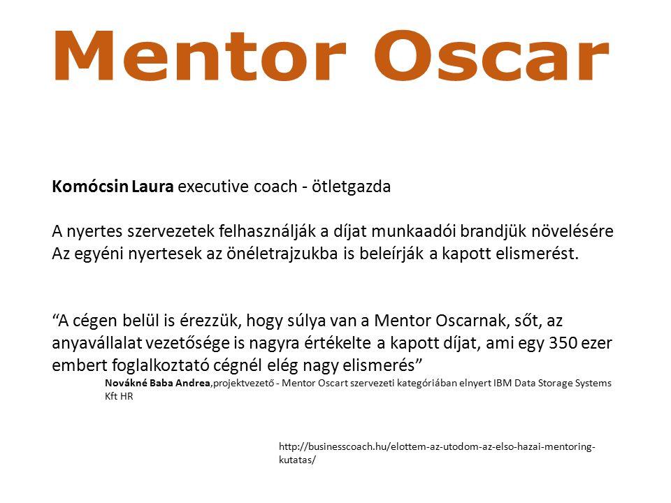 Az első magyarországi mentoring-kutatás Mentori működés Alapfeltétel egységes szerkezetű, strukturált és egyedi mentorprogram Időmegtakarítás Mérni lehet mentorált alkalmasságát, hatékonyságát A folyamat közben a mentor is tanul Kifizetődik (96%)