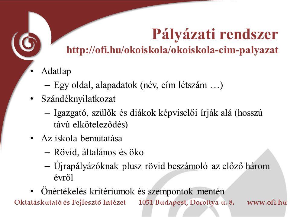 Oktatáskutató és Fejlesztő Intézet 1051 Budapest, Dorottya u. 8. www.ofi.hu Pályázati rendszer http://ofi.hu/okoiskola/okoiskola-cim-palyazat Adatlap