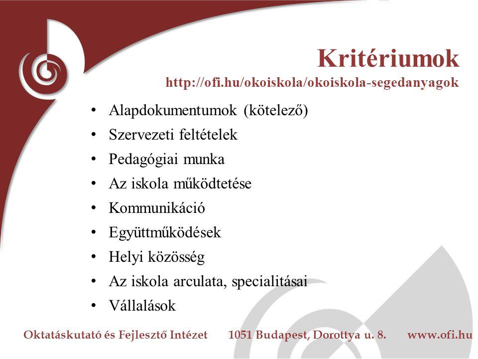 Oktatáskutató és Fejlesztő Intézet 1051 Budapest, Dorottya u. 8. www.ofi.hu Kritériumok http://ofi.hu/okoiskola/okoiskola-segedanyagok Alapdokumentumo