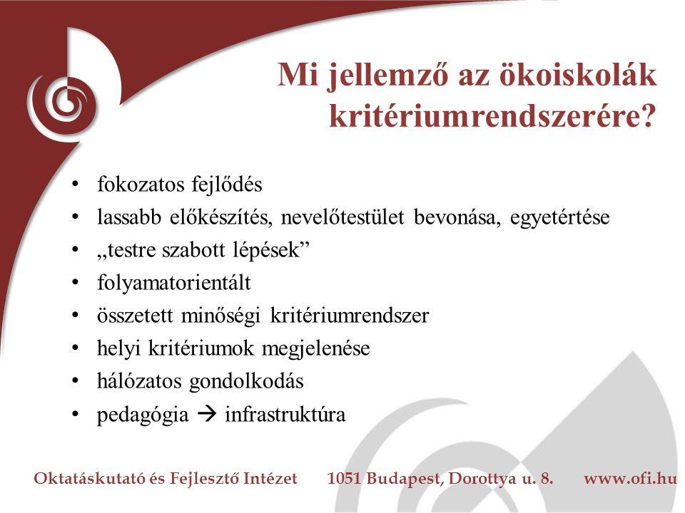 Oktatáskutató és Fejlesztő Intézet 1051 Budapest, Dorottya u. 8. www.ofi.hu Mi jellemző az ökoiskolák kritériumrendszerére? fokozatos fejlődés lassabb