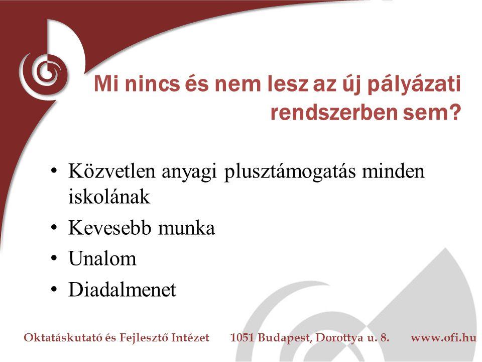 Oktatáskutató és Fejlesztő Intézet 1051 Budapest, Dorottya u. 8. www.ofi.hu Mi nincs és nem lesz az új pályázati rendszerben sem? Közvetlen anyagi plu