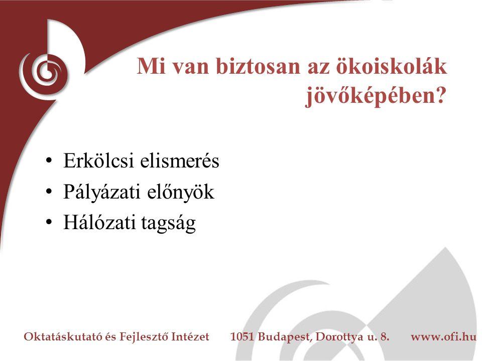 Oktatáskutató és Fejlesztő Intézet 1051 Budapest, Dorottya u. 8. www.ofi.hu Mi van biztosan az ökoiskolák jövőképében? Erkölcsi elismerés Pályázati el