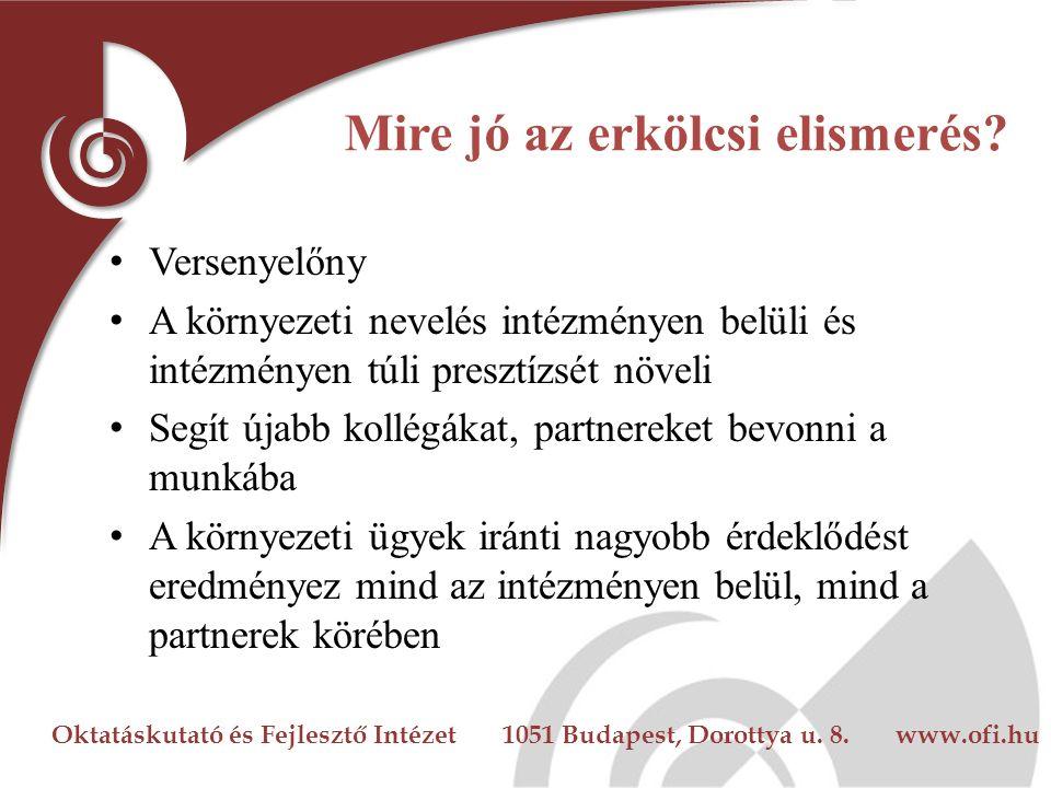Oktatáskutató és Fejlesztő Intézet 1051 Budapest, Dorottya u. 8. www.ofi.hu Mire jó az erkölcsi elismerés? Versenyelőny A környezeti nevelés intézmény