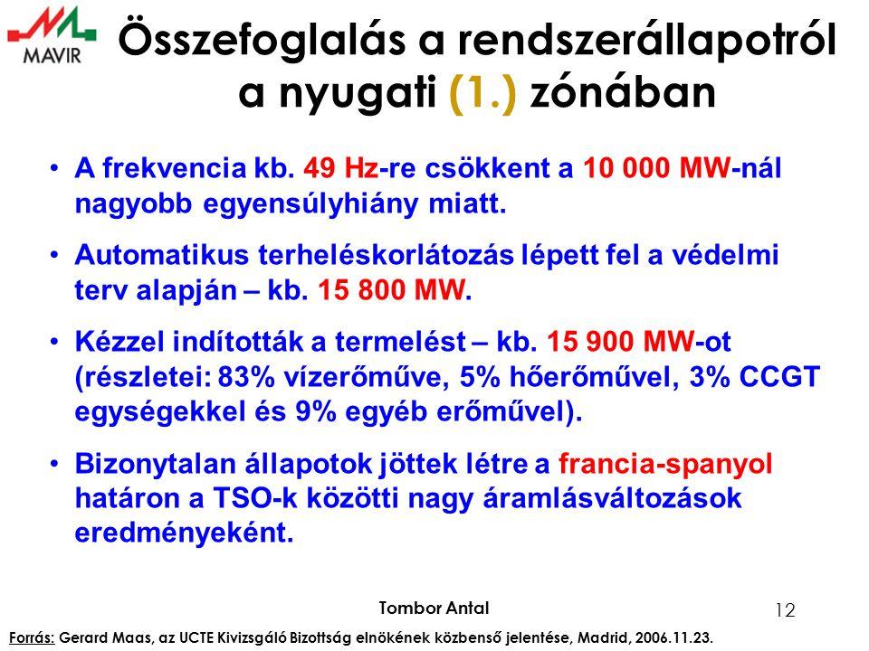 Tombor Antal 12 Összefoglalás a rendszerállapotról a nyugati (1.) zónában A frekvencia kb. 49 Hz-re csökkent a 10 000 MW-nál nagyobb egyensúlyhiány mi