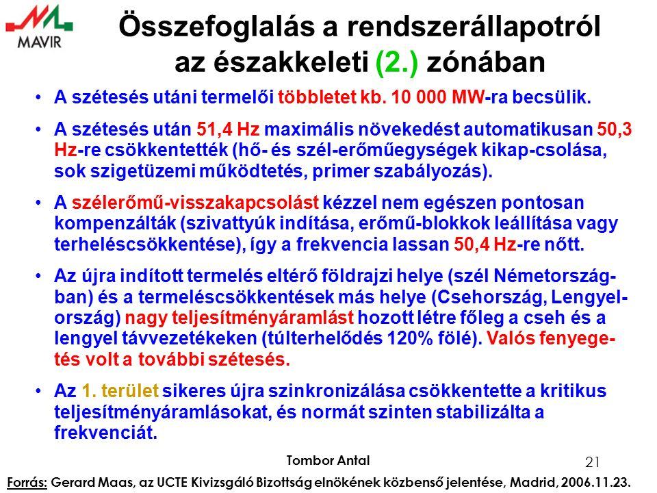 Tombor Antal 21 Összefoglalás a rendszerállapotról az északkeleti (2.) zónában A szétesés utáni termelői többletet kb. 10 000 MW-ra becsülik. A szétes