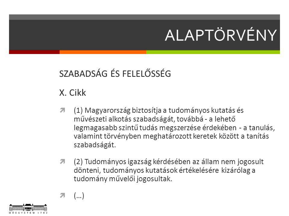 ALAPTÖRVÉNY SZABADSÁG ÉS FELELŐSSÉG X. Cikk  (1) Magyarország biztosítja a tudományos kutatás és művészeti alkotás szabadságát, továbbá - a lehető le