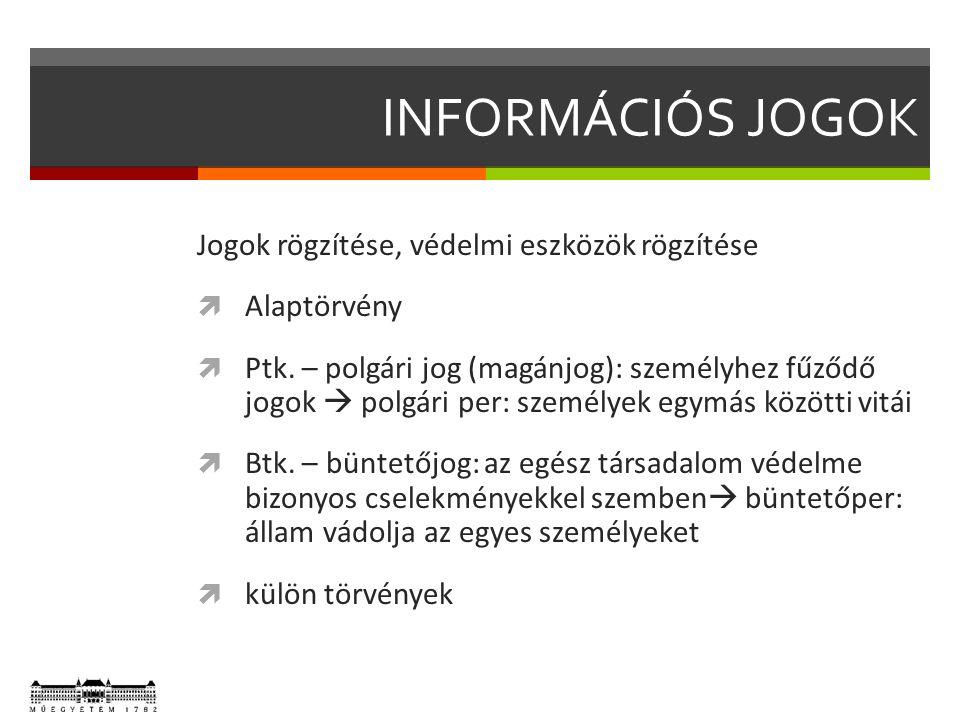 INFORMÁCIÓS JOGOK Jogok rögzítése, védelmi eszközök rögzítése  Alaptörvény  Ptk. – polgári jog (magánjog): személyhez fűződő jogok  polgári per: sz