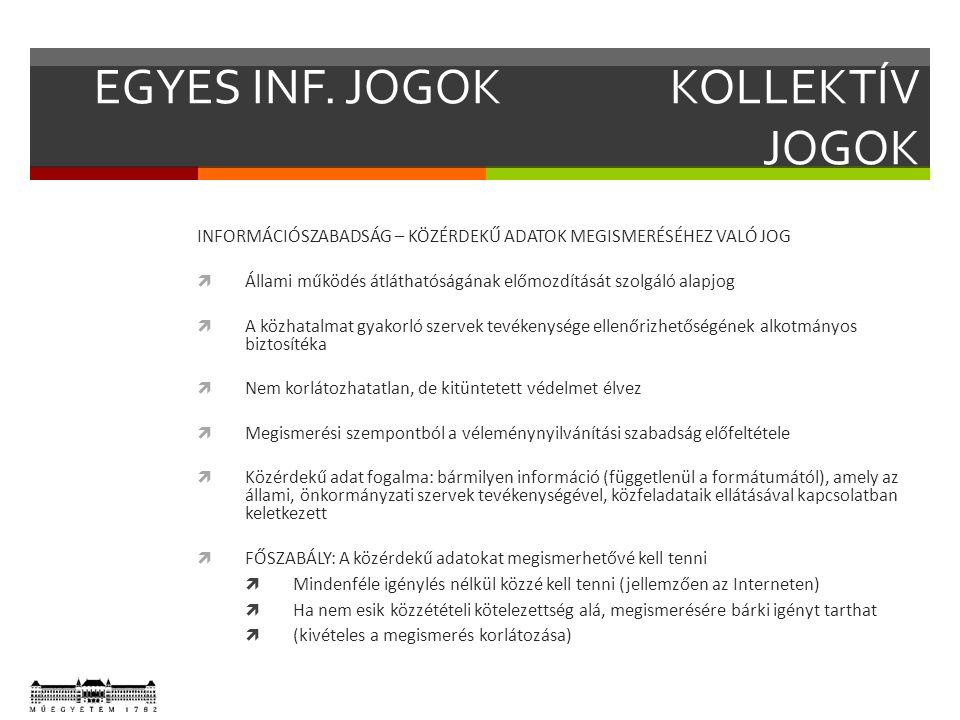EGYES INF. JOGOKKOLLEKTÍV JOGOK INFORMÁCIÓSZABADSÁG – KÖZÉRDEKŰ ADATOK MEGISMERÉSÉHEZ VALÓ JOG  Állami működés átláthatóságának előmozdítását szolgál