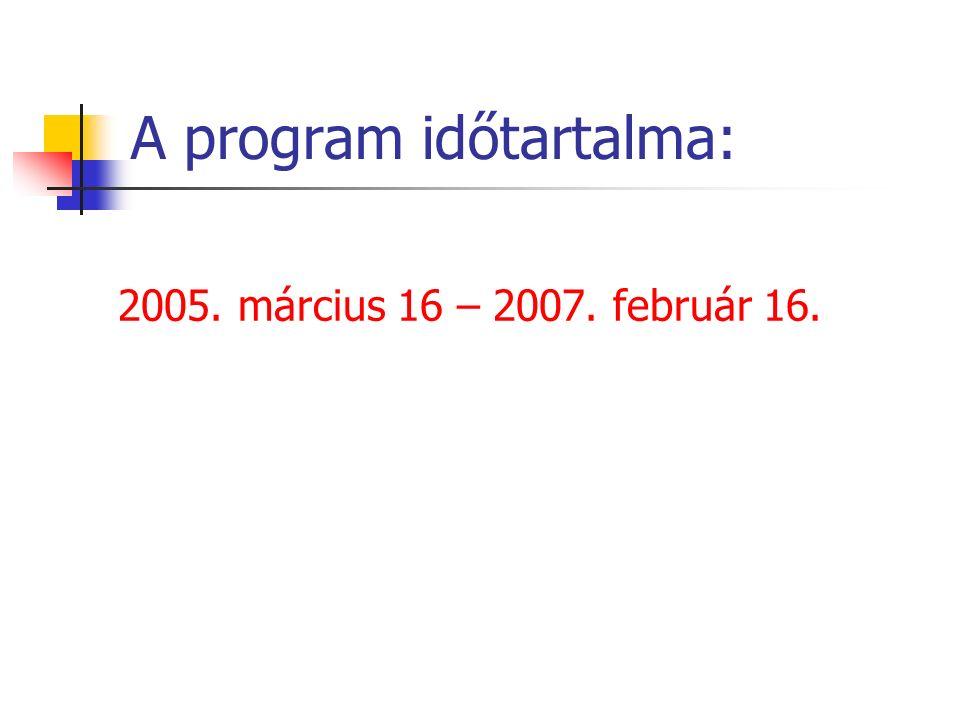 A program időtartalma: 2005. március 16 – 2007. február 16.