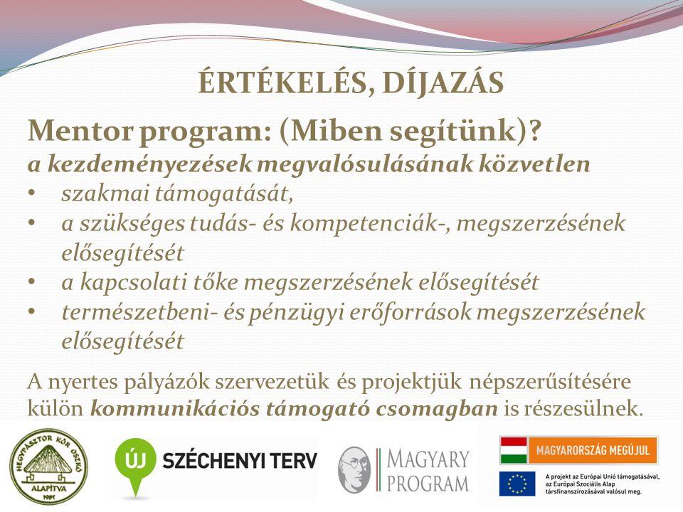 ÉRTÉKELÉS, DÍJAZÁS Mentor program: (Miben segítünk).