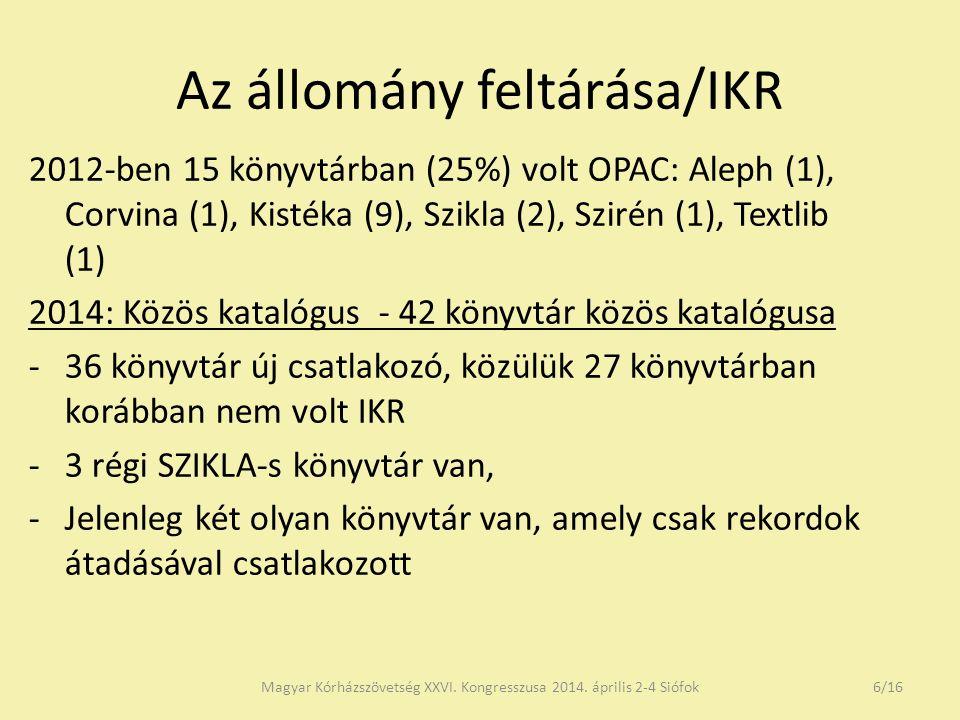 Az állomány feltárása/IKR 2012-ben 15 könyvtárban (25%) volt OPAC: Aleph (1), Corvina (1), Kistéka (9), Szikla (2), Szirén (1), Textlib (1) 2014: Közös katalógus - 42 könyvtár közös katalógusa -36 könyvtár új csatlakozó, közülük 27 könyvtárban korábban nem volt IKR -3 régi SZIKLA-s könyvtár van, -Jelenleg két olyan könyvtár van, amely csak rekordok átadásával csatlakozott Magyar Kórházszövetség XXVI.