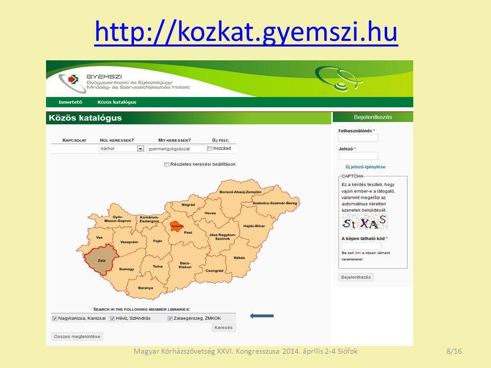 http://kozkat.gyemszi.hu Magyar Kórházszövetség XXVI. Kongresszusa 2014. április 2-4 Siófok8/16