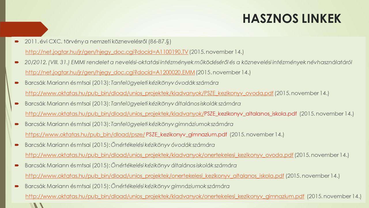 HASZNOS LINKEK  2011. évi CXC.