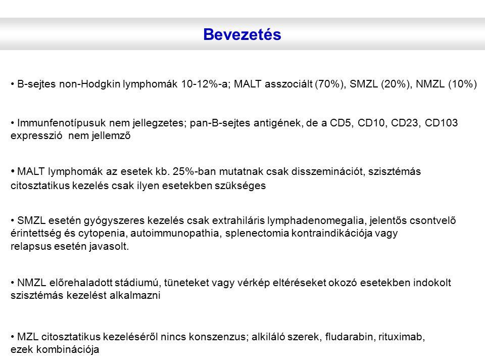 Bevezetés B-sejtes non-Hodgkin lymphomák 10-12%-a; MALT asszociált (70%), SMZL (20%), NMZL (10%) Immunfenotípusuk nem jellegzetes; pan-B-sejtes antigé