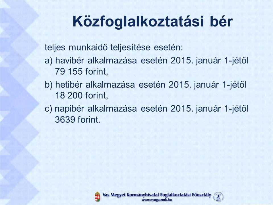 Közfoglalkoztatási bér teljes munkaidő teljesítése esetén: a) havibér alkalmazása esetén 2015.