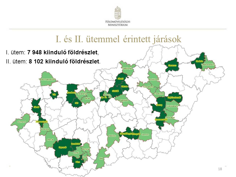 18 I. ütem: 7 948 kiinduló földrészlet, II. ütem: 8 102 kiinduló földrészlet. I. és II. ütemmel érintett járások