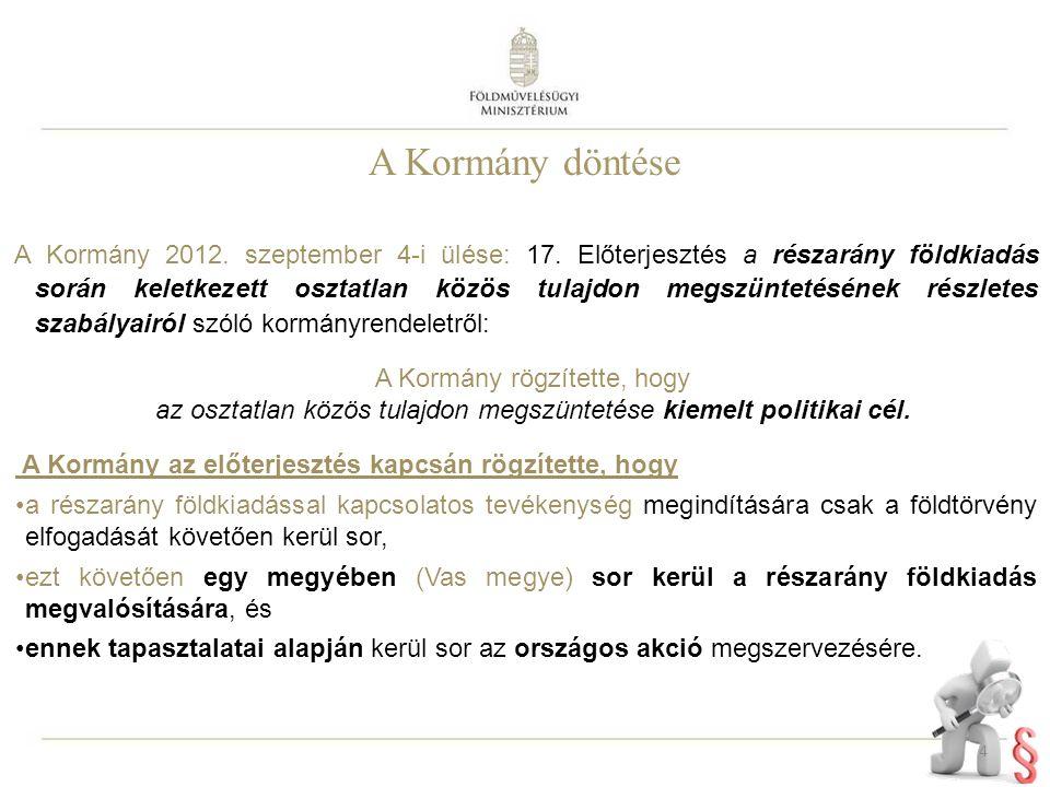 A Kormány döntése A Kormány 2012. szeptember 4-i ülése: 17. Előterjesztés a részarány földkiadás során keletkezett osztatlan közös tulajdon megszüntet