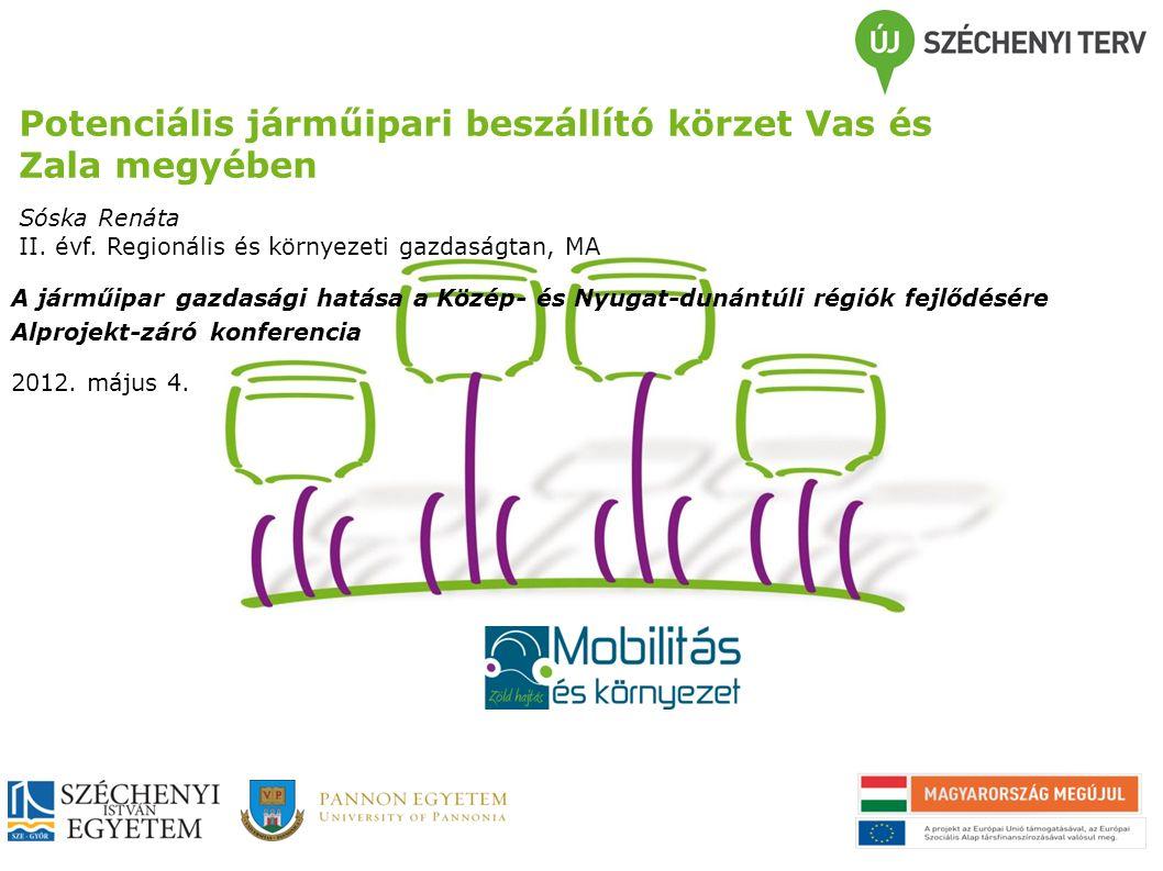 Potenciális járműipari beszállító körzet Vas és Zala megyében Sóska Renáta II.