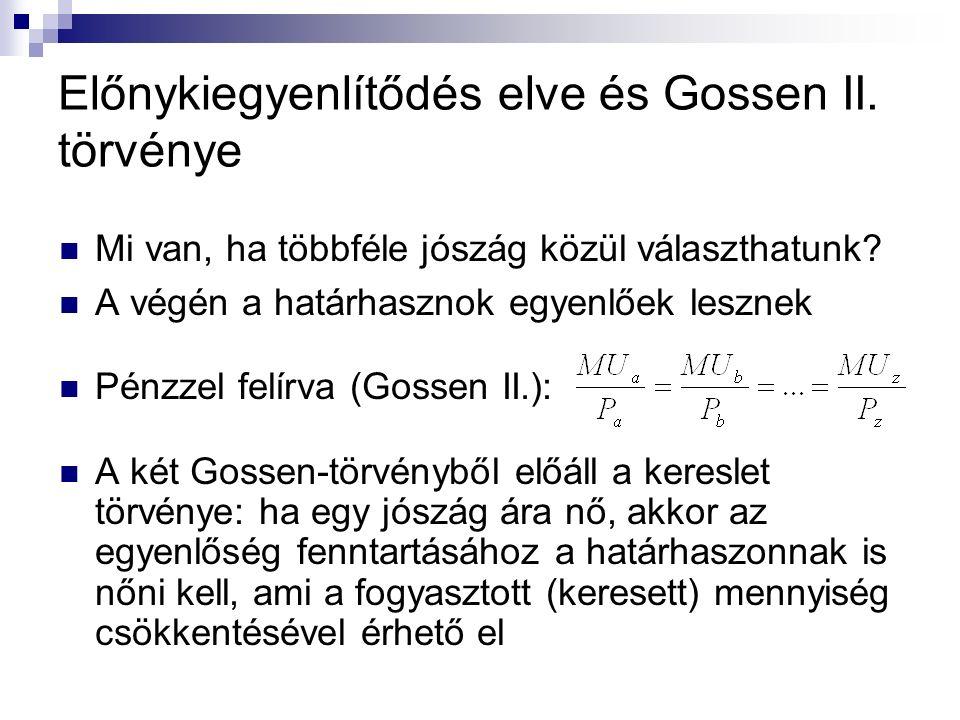 Előnykiegyenlítődés elve és Gossen II. törvénye Mi van, ha többféle jószág közül választhatunk? A végén a határhasznok egyenlőek lesznek Pénzzel felír