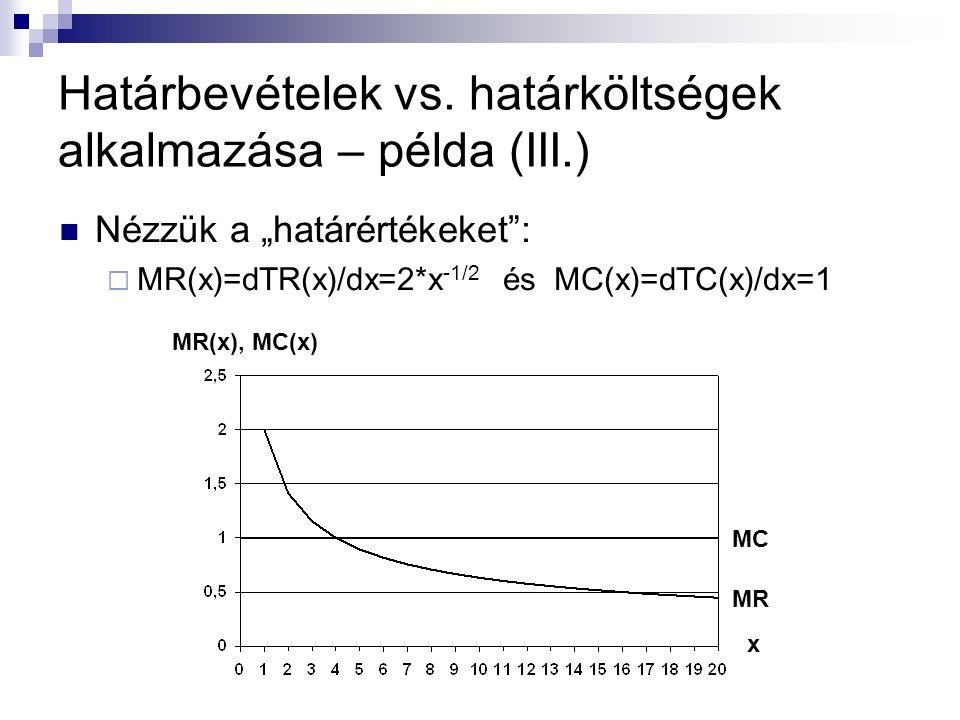 """Határbevételek vs. határköltségek alkalmazása – példa (III.) Nézzük a """"határértékeket"""":  MR(x)=dTR(x)/dx=2*x -1/2 és MC(x)=dTC(x)/dx=1 MR(x), MC(x) x"""