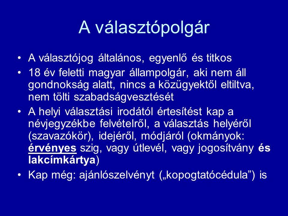 """A választópolgár A választójog általános, egyenlő és titkos 18 év feletti magyar állampolgár, aki nem áll gondnokság alatt, nincs a közügyektől eltiltva, nem tölti szabadságvesztését A helyi választási irodától értesítést kap a névjegyzékbe felvételről, a választás helyéről (szavazókör), idejéről, módjáról (okmányok: érvényes szig, vagy útlevél, vagy jogosítvány és lakcímkártya) Kap még: ajánlószelvényt (""""kopogtatócédula ) is"""