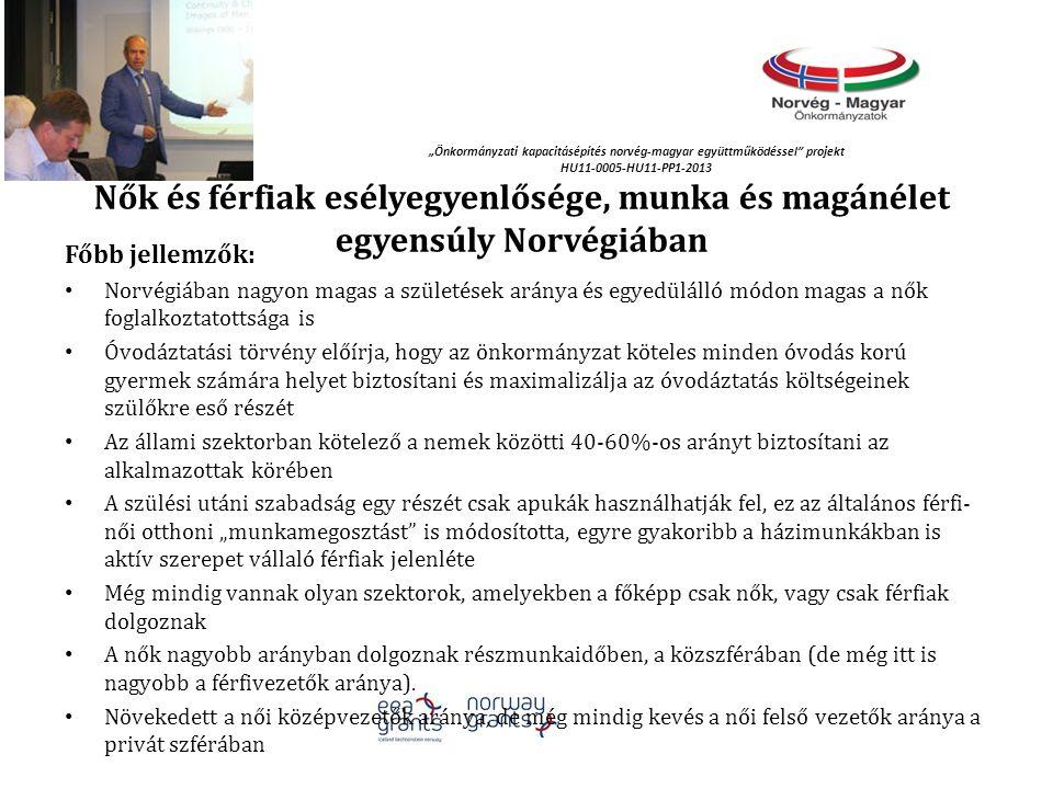 """""""Önkormányzati kapacitásépítés norvég‐magyar együttműködéssel projekt HU11-0005-HU11-PP1-2013 Nők és férfiak esélyegyenlősége, munka és magánélet egyensúly Norvégiában Főbb jellemzők: Norvégiában nagyon magas a születések aránya és egyedülálló módon magas a nők foglalkoztatottsága is Óvodáztatási törvény előírja, hogy az önkormányzat köteles minden óvodás korú gyermek számára helyet biztosítani és maximalizálja az óvodáztatás költségeinek szülőkre eső részét Az állami szektorban kötelező a nemek közötti 40-60%-os arányt biztosítani az alkalmazottak körében A szülési utáni szabadság egy részét csak apukák használhatják fel, ez az általános férfi- női otthoni """"munkamegosztást is módosította, egyre gyakoribb a házimunkákban is aktív szerepet vállaló férfiak jelenléte Még mindig vannak olyan szektorok, amelyekben a főképp csak nők, vagy csak férfiak dolgoznak A nők nagyobb arányban dolgoznak részmunkaidőben, a közszférában (de még itt is nagyobb a férfivezetők aránya)."""