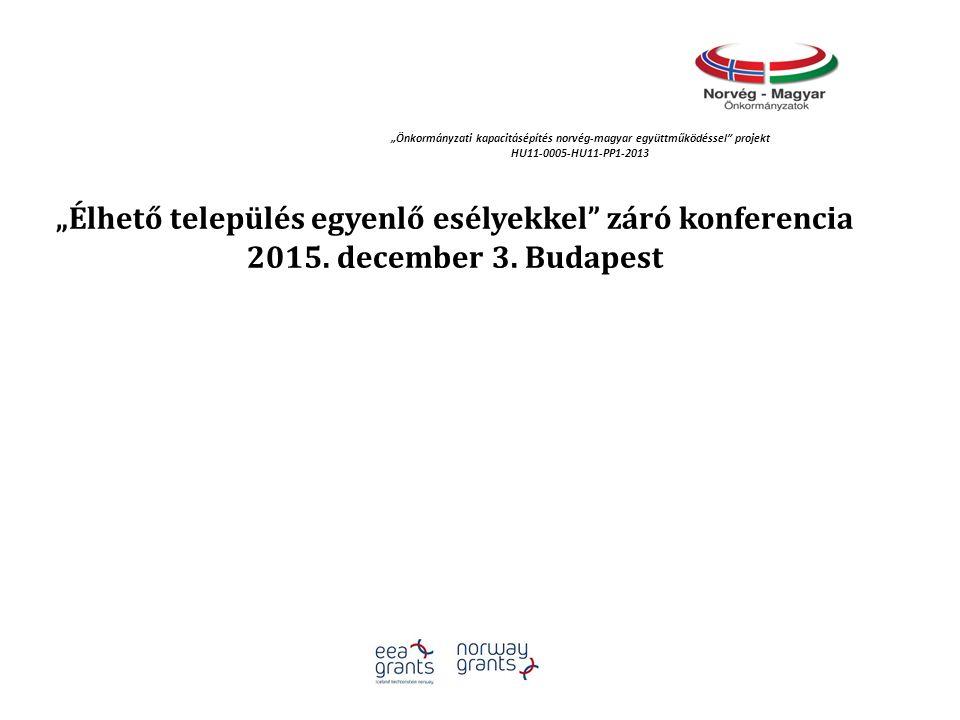"""""""Élhető település egyenlő esélyekkel záró konferencia 2015."""