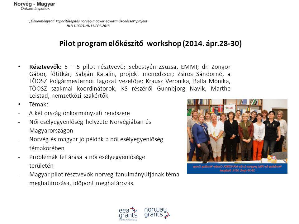 """""""Önkormányzati kapacitásépítés norvég‐magyar együttműködéssel projekt HU11-0005-HU11-PP1-2013 Pilot program előkészítő workshop (2014."""