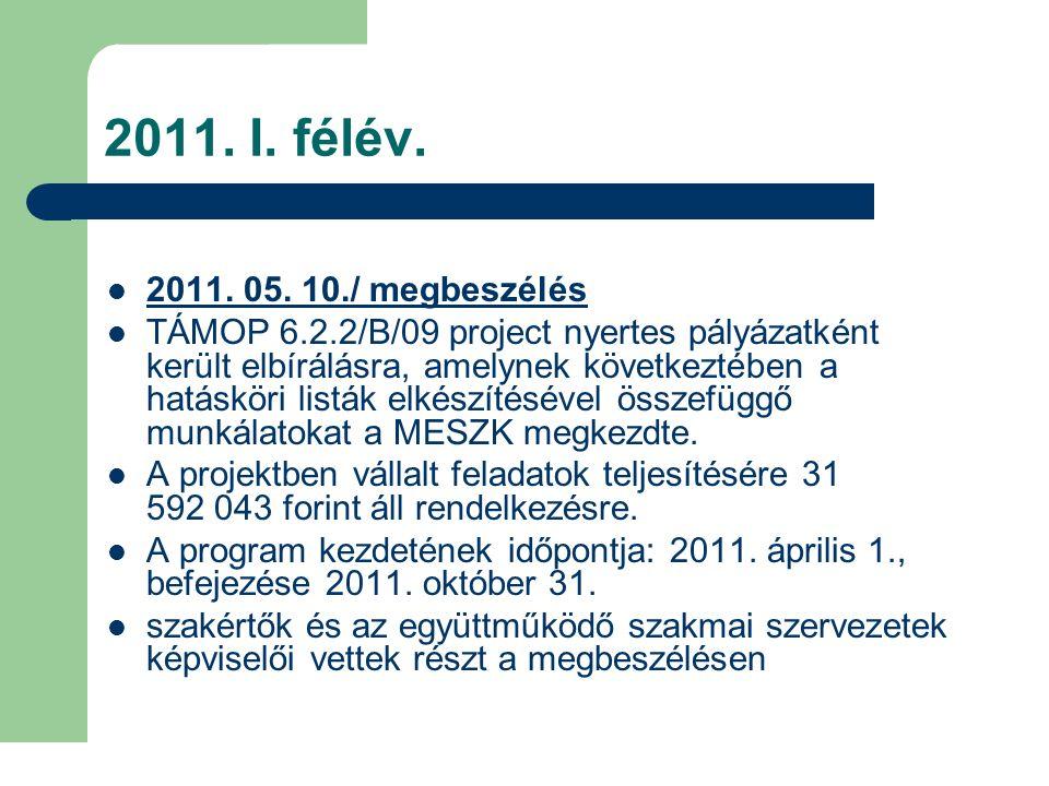 2011. I. félév. 2011. 05. 10./ megbeszélés TÁMOP 6.2.2/B/09 project nyertes pályázatként került elbírálásra, amelynek következtében a hatásköri listák