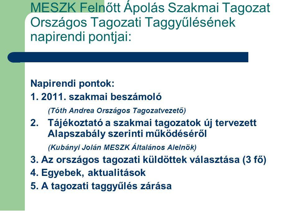 2011.évi tagozati célok, feladatok 1.
