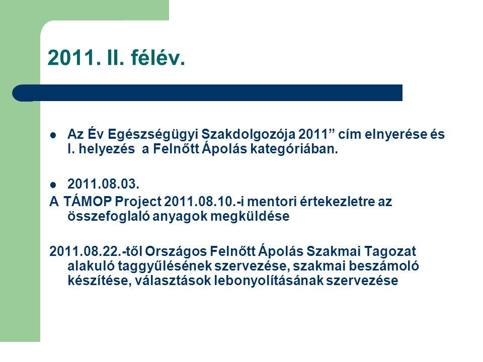 """2011. II. félév. Az Év Egészségügyi Szakdolgozója 2011"""" cím elnyerése és I. helyezés a Felnőtt Ápolás kategóriában. 2011.08.03. A TÁMOP Project 2011.0"""
