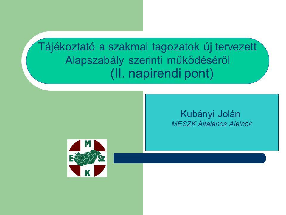 Tájékoztató a szakmai tagozatok új tervezett Alapszabály szerinti működéséről (II.