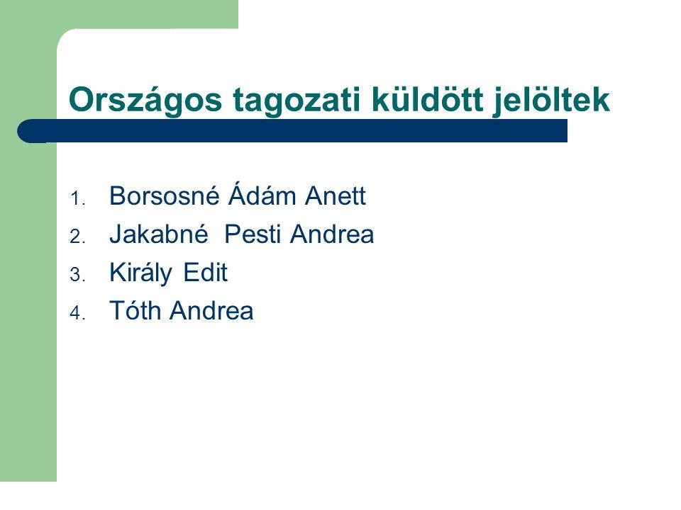 Országos tagozati küldött jelöltek 1. Borsosné Ádám Anett 2. Jakabné Pesti Andrea 3. Király Edit 4. Tóth Andrea