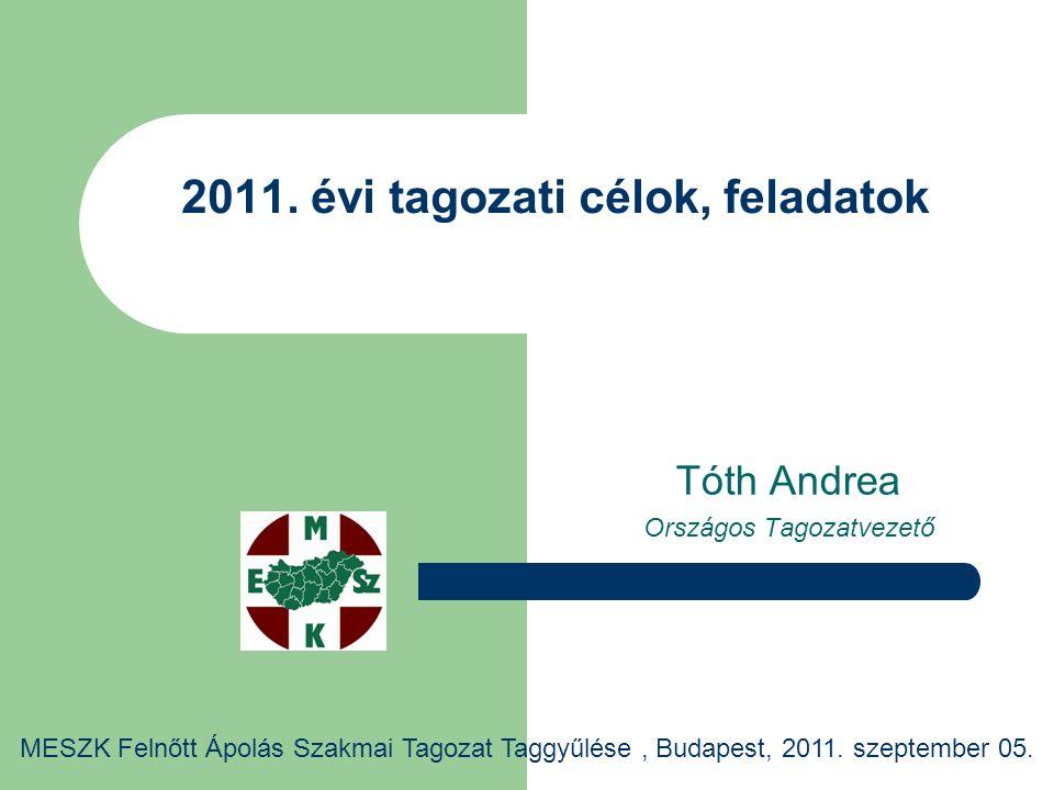 2011. évi tagozati célok, feladatok Tóth Andrea Országos Tagozatvezető MESZK Felnőtt Ápolás Szakmai Tagozat Taggyűlése, Budapest, 2011. szeptember 05.