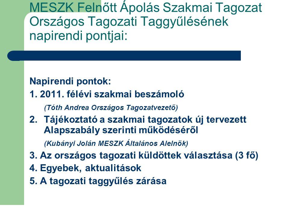 MESZK Országos Felnőtt Ápolás Szakmai Tagozat tagozatvezetői beszámolója 2011.