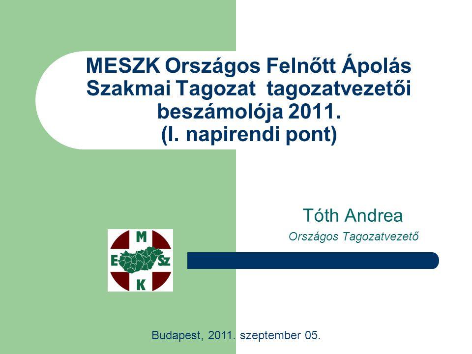 MESZK Országos Felnőtt Ápolás Szakmai Tagozat tagozatvezetői beszámolója 2011. (I. napirendi pont) Tóth Andrea Országos Tagozatvezető Budapest, 2011.