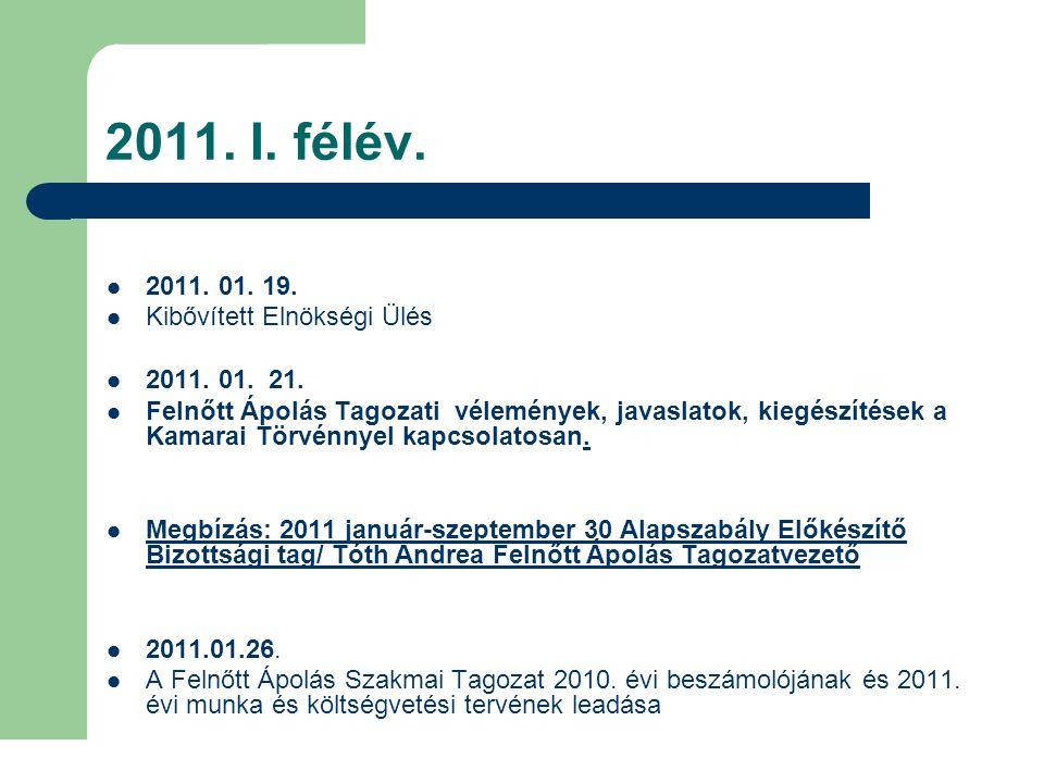 2011. I. félév. 2011. 01. 19. Kibővített Elnökségi Ülés 2011. 01. 21. Felnőtt Ápolás Tagozati vélemények, javaslatok, kiegészítések a Kamarai Törvénny
