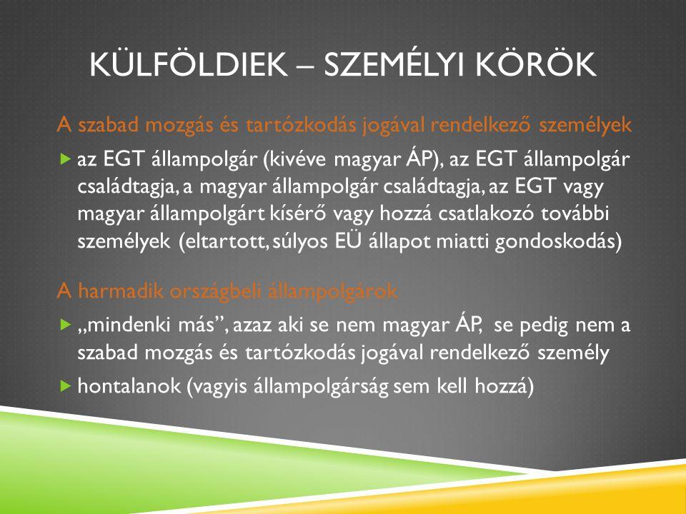 """KÜLFÖLDIEK – SZEMÉLYI KÖRÖK A szabad mozgás és tartózkodás jogával rendelkező személyek  az EGT állampolgár (kivéve magyar ÁP), az EGT állampolgár családtagja, a magyar állampolgár családtagja, az EGT vagy magyar állampolgárt kísérő vagy hozzá csatlakozó további személyek (eltartott, súlyos EÜ állapot miatti gondoskodás) A harmadik országbeli állampolgárok  """"mindenki más , azaz aki se nem magyar ÁP, se pedig nem a szabad mozgás és tartózkodás jogával rendelkező személy  hontalanok (vagyis állampolgárság sem kell hozzá)"""