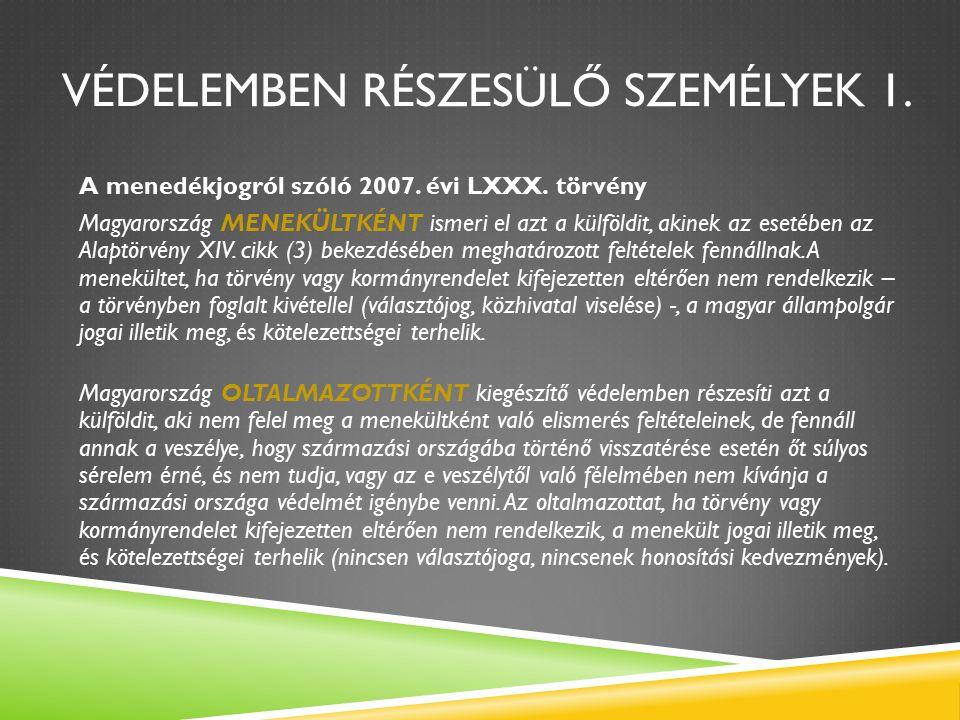 VÉDELEMBEN RÉSZESÜLŐ SZEMÉLYEK 1. A menedékjogról szóló 2007.