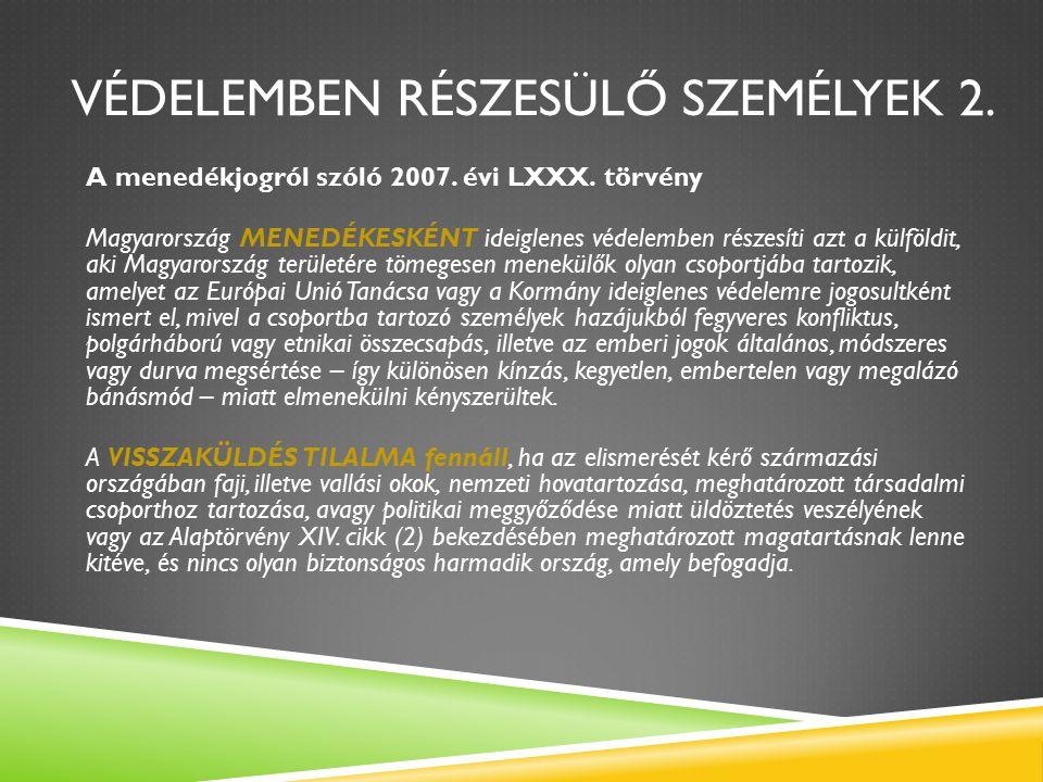 VÉDELEMBEN RÉSZESÜLŐ SZEMÉLYEK 2. A menedékjogról szóló 2007.
