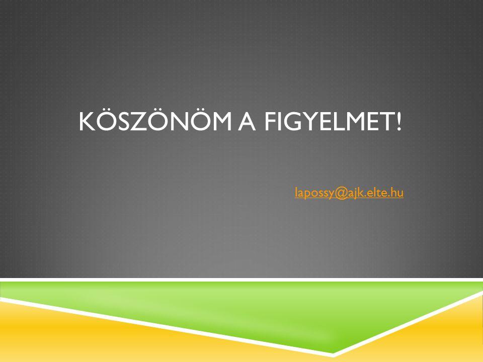 KÖSZÖNÖM A FIGYELMET! lapossy@ajk.elte.hu