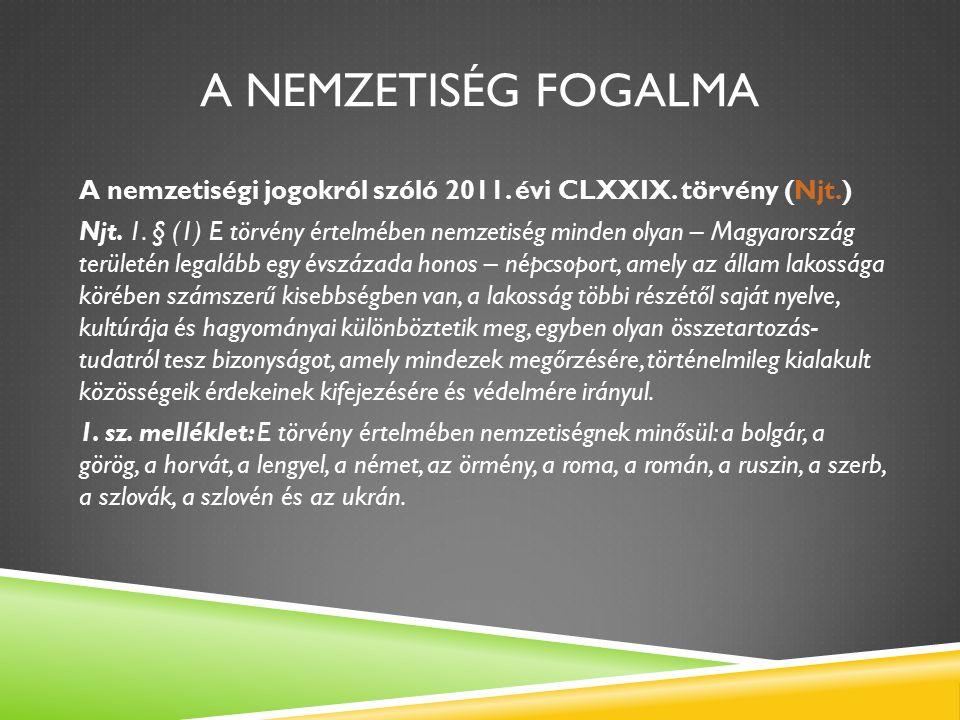 A NEMZETISÉG FOGALMA A nemzetiségi jogokról szóló 2011.