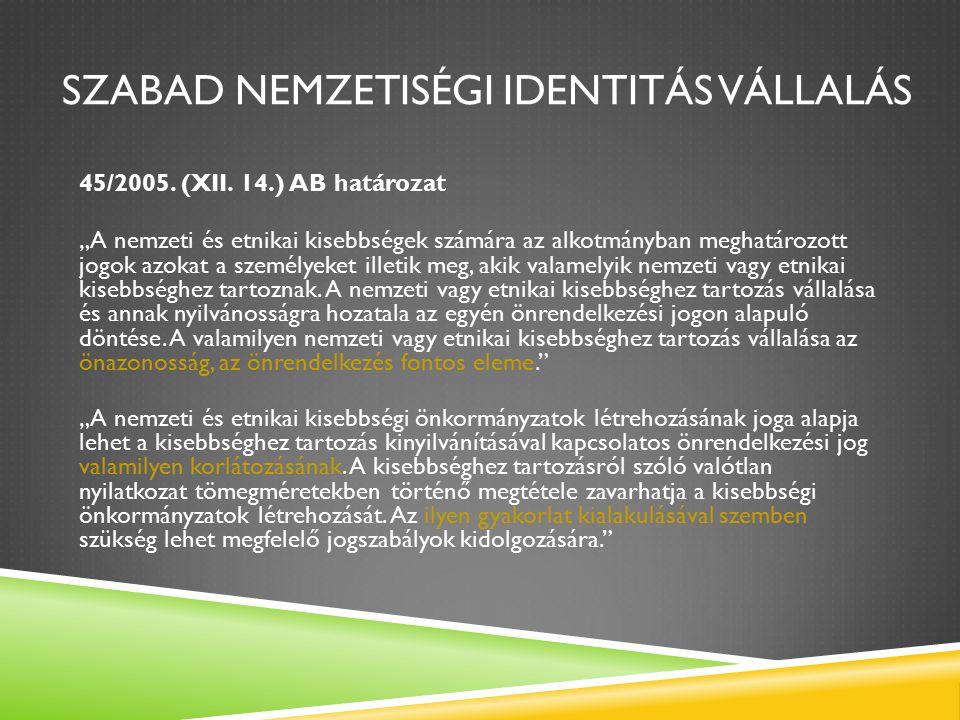 SZABAD NEMZETISÉGI IDENTITÁS VÁLLALÁS 45/2005. (XII.