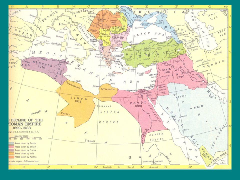 Az Oszmán Birodalom válsága Oszmanizálódás –A birodalom visszahúzódik helyén nemzetállami modellek jelentek meg, amelyek etnikus tudattal bírtak, –A birodalom tényleges befolyása sokhelyütt névlegessé vált; Egyiptom 1808-tól Hedzsász 1913 után Az Arab-félsziget bels ő része –Súlyos krízisek; Kapitulációs rendszer - a hitelez ő k kezébe került a birodalom Állandósuló külpolitika vereségek (Balkánon és a Mediterráneumban )