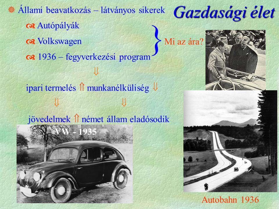  Állami beavatkozás – látványos sikerek  Autópályák  Volkswagen  1936 – fegyverkezési program  ipari termelés  munkanélküliség    jövedelmek  német állam eladósodik } Mi az ára.
