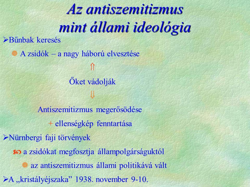 """Az antiszemitizmus mint állami ideológia  Bűnbak keresés  A zsidók – a nagy háború elvesztése  Őket vádolják  Antiszemitizmus megerősödése + ellenségkép fenntartása  Nürnbergi faji törvények  a zsidókat megfosztja állampolgárságuktól  az antiszemitizmus állami politikává vált  A """"kristályéjszaka 1938."""